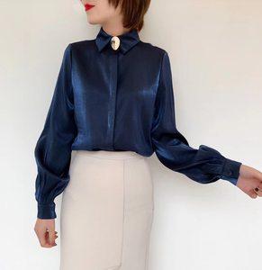2018冬季新款HANA正品韩版新款长袖<span class=H>衬衣</span>白领时尚社会潮流女