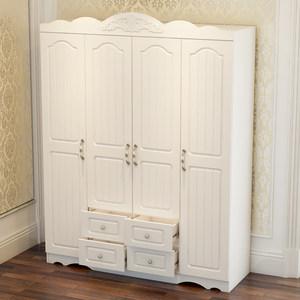 白色衣柜实木质经济型三门四门柜子卧室欧式组合装五门储物大衣橱