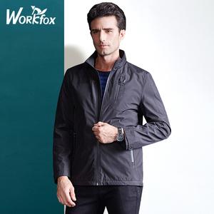 哈雷纳金狐狸男装秋季中年男士商务休闲夹克立领夹克外套保暖加绒