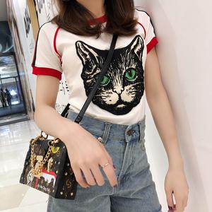 欧美风<span class=H>T恤</span>女2018新款夏装修身猫头条纹短袖体恤白色纯棉打底上衣