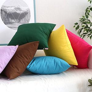 棉麻加厚纯色<span class=H>抱枕</span>套沙发靠垫含芯客厅简约靠背床上靠枕套家用靠垫