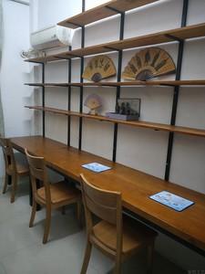 实木书桌墙上书架柜组合一字隔层板置物架家用写字台电脑办公长桌