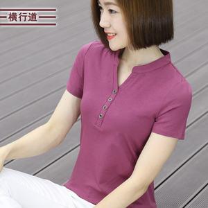 夏季立领木代尔莫代尔t恤女短袖百搭大码修身纯色体恤半袖<span class=H>上衣</span>