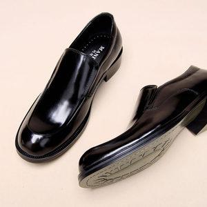 男士牛皮商务正装皮鞋男英伦一脚蹬真皮<span class=H>男鞋</span>厚底套脚大头鞋父亲鞋