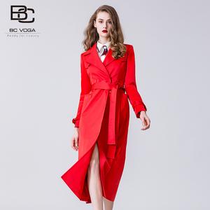 bcvoga时尚潮流风衣<span class=H>女装</span>百丝2019春季新品长款百搭修身外套女