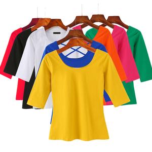 七分袖<span class=H>t恤</span>女低领修身显瘦大领口打底衫U领中袖体恤女半袖女士上衣