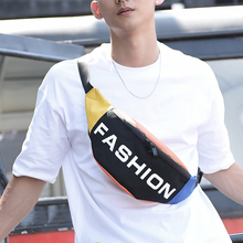 New fashion fashionable men collide with color trendy bust men outdoor leisure purse couples small bag sports straddle bag