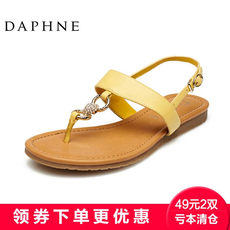 Daphne/Daphne Musim Panas Saat Ini College Breeze Klip Kaki Ascent untuk Tombol Hingga Wanita dengan Satu Kata sandal Murni Cang Preferensi-Internasional