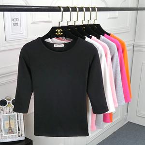 2018<span class=H>女装</span>春夏季新款七分袖t恤女上衣修身中袖纯色圆领纯棉打底衫