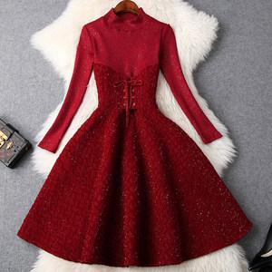 2018秋冬季新款高领长袖针织大摆中<span class=H>长裙</span>淑女风气质显瘦礼服连衣裙
