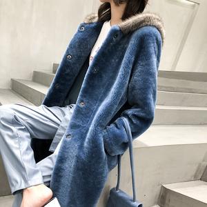 2018冬季新品水貂编织帽进口美利奴羊毛真皮毛一体皮草外套女大衣