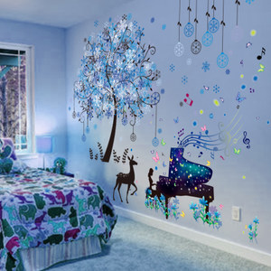 3D立体墙贴纸贴画卧室房间墙面装饰壁纸床头海报温馨墙壁<span class=H>自粘</span><span class=H>墙纸</span>