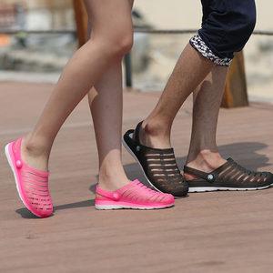 2019经典夏季情侣男女鞋<span class=H>洞洞鞋</span>男拖鞋<span class=H>鸟巢</span>包头果冻沙滩鞋