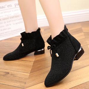 <span class=H>短靴</span>女单鞋中跟真皮尖头单靴子磨砂皮百搭休闲粗跟鞋大码水钻裸靴