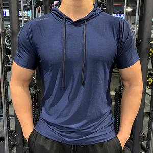 夏季男士运动休闲连帽短袖弹力速干透气健身服户外跑步训练健身衣