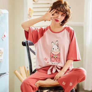 <span class=H>睡衣</span>女夏季薄款纯棉甜美可爱少女卡通宽松可外穿家居服两件套装春