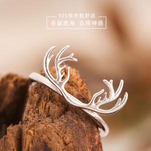 森系原创设计S925纯银饰品时尚简约开口鹿角<span class=H>戒指</span>女指环可调节尾戒