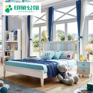 实木床童床男孩1.2米单人床女孩1.5米简约套房<span class=H>家具</span>北欧式床儿童床