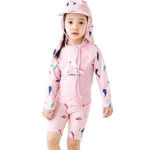 儿童泳衣女孩女童中大童分体长袖防晒