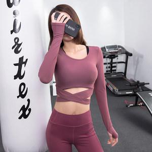 健身长袖<span class=H>上衣</span>女速干短款露脐性感健身房运动跑步舞蹈训练瑜伽T恤