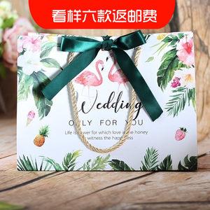 爱情火烈鸟婚礼<span class=H>手提袋</span>创意结婚回礼袋蝴蝶结礼品袋大号喜糖盒