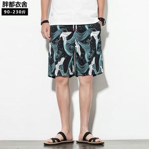 夏季中国风印花短裤男士五分裤宽松直筒沙滩裤潮流国潮大码休闲裤