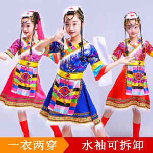 六一夏少数<span class=H>民族</span>短袖藏族<span class=H>儿童</span>演出服装蒙古族舞蹈女童水袖表演<span class=H>服饰</span>