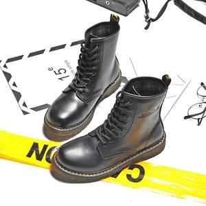 马丁靴女英伦风新款靴子学生系带<span class=H>短靴</span>秋冬平底靴骑士靴圆头高帮靴