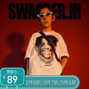 SwaggerJR儿童嘻哈街舞短袖男童潮牌纯棉<span class=H>T恤</span>中大童体恤潮流童装女