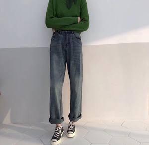 秋季韩国bf风复古做旧百搭学生阔腿裤直筒牛仔裤女宽松翻边长裤子