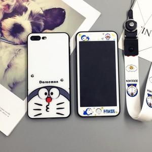 机器猫<span class=H>苹果</span>7plus手机壳玻璃彩膜iphone xs全套8p哆啦A梦6sp蓝胖子