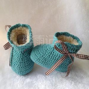 婴儿毛线鞋编织手工男女宝宝软底冬加绒加厚保暖高帮棉鞋系带<span class=H>成品</span>