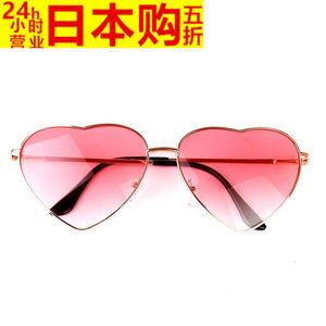 日本日系可爱桃心少女爱心<span class=H>墨镜</span>圆脸粉色炫酷学生金属太阳镜个性眼