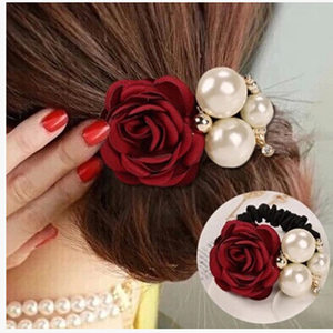韩版时尚发饰大珍珠玫瑰花朵发圈 山茶花发绳头饰 镶钻皮筋头花