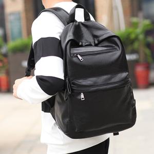 新款韩版潮流男士PU皮<span class=H>双肩包</span><span class=H>男包</span>包高中学生书包电脑旅行女式背包