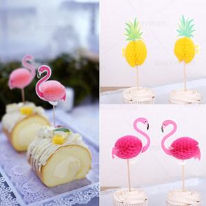 烘焙装饰水果插牌 3D立体火烈鸟<span class=H>菠萝</span>插牌甜品台派对布置装扮2支装