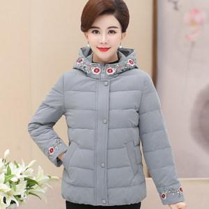 中老年棉衣女冬季大码绣花外套中年人妈妈冬装洋气短款羽绒棉袄厚