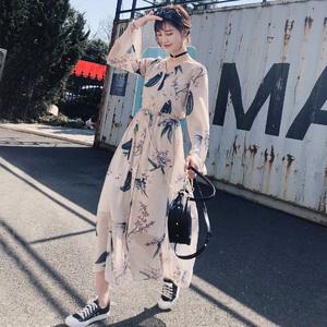 2018春装新款<span class=H>女装</span>潮温柔沙滩裙子收腰碎花雪纺连衣裙夏超仙女长裙