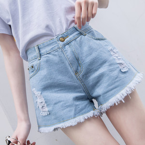 2019夏季新款破洞牛仔<span class=H>短裤</span>女阔腿cec直筒热裤高腰街头港味百搭