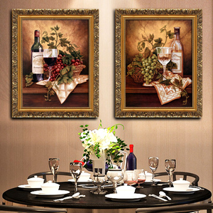 餐厅装饰画挂画三联厨房饭厅壁画有框画欧式壁画高清静物葡萄水果