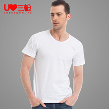 Three guns old shirt pure cotton men summer classic thin sweater pure white short sleeve T-shirt sport undercoat man