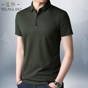 莫代尔短袖t恤夏季半袖薄款翻领上衣中年男士纯色体恤polo衫男装