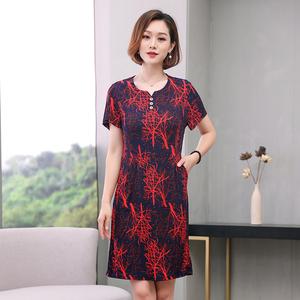 2019夏季新款中年女士<span class=H>女装</span>夏装短袖包臀裙子女式中长款连衣裙