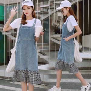 牛仔<span class=H>连衣裙</span>女2018夏季新款韩版吊带裙中长款裙子<span class=H>鱼尾裙</span>拼接背带裙