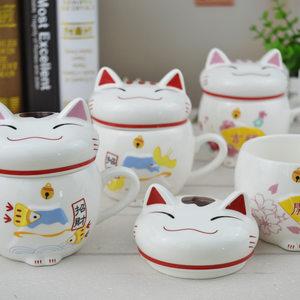 新年财运杯 招财猫杯子陶瓷 带盖 创意可爱礼品马克杯水杯礼物
