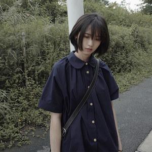 银河汽水 夏季小众设计感衬衣日系上衣文艺宽松短袖娃娃领<span class=H>衬衫</span>女