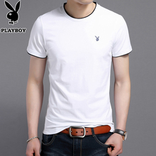 Playboy White Short Sleeve T-shirt Men's Round Collar, Pure Shape, Half Sleeve Fashion Summer Brand Men's T-shirt