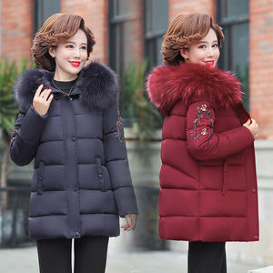 中老年冬季女装棉衣女短款2020年新款妈妈装连帽羽绒棉服棉袄外套