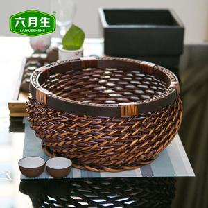 六月生桌面水果筐家用圆形编织藤编篮子厨房杂物收纳筐零食馒头筐