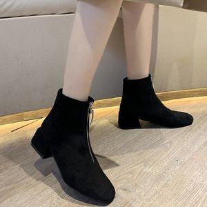 网红百搭粗跟短筒季保暖显瘦前拉链短靴